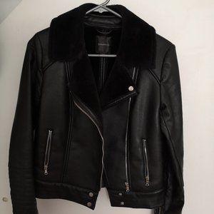 Dynamite Black Faux Leather Shearling Coat-Size XS